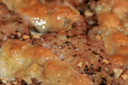 close up multigrain focaccia bread with cheese
