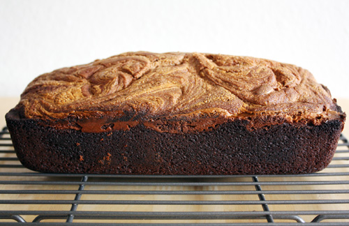 chocolate peanut butter swirl bread on cooling rack