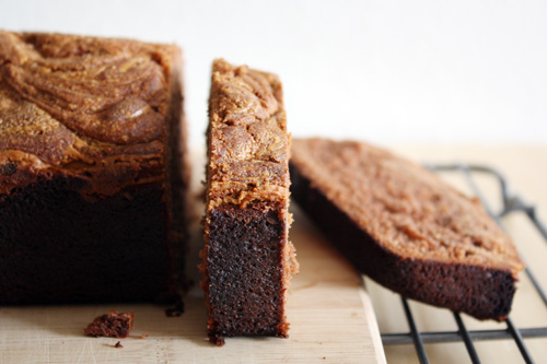 slices of chocolate peanut butter swirl bread