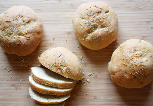 rosemary peasant loaves of bread