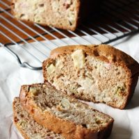 rhubarb apple bread on cooling rack