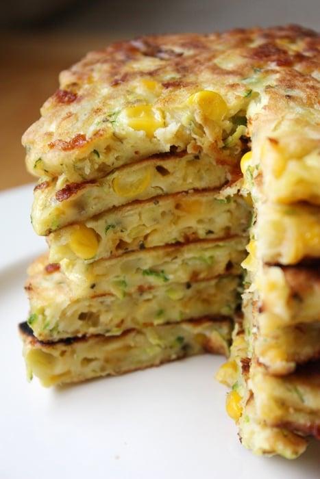 stack of zucchini corn pancakes