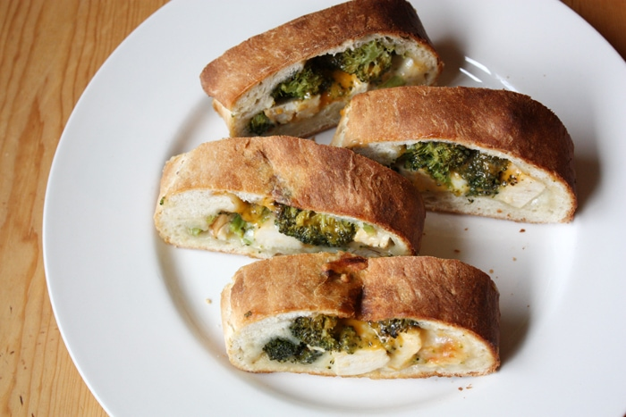 cheesy chicken broccoli stromboli in plate