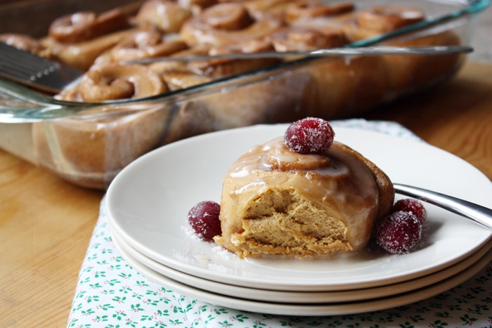 gingerbread cinnamon roll on a plate