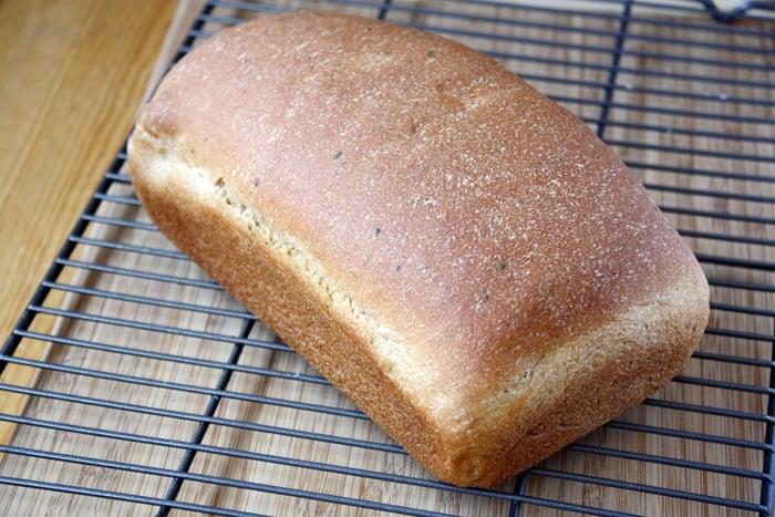 ricotta olive oil herb bread loaf on cooling rack