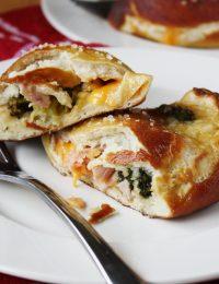 Ham and Cheddar Pretzel Calzones