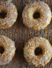 Peach Doughnuts with White Chocolate Glaze