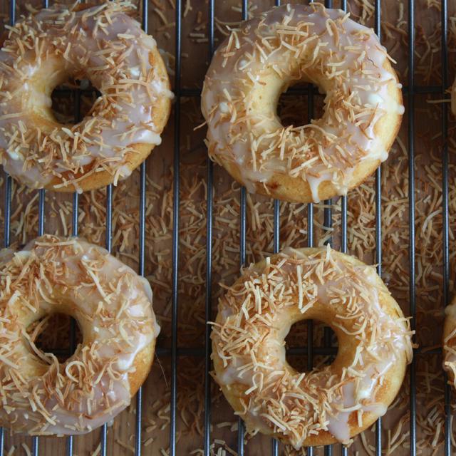 Peach Doughnuts with White Chocolate Glaze
