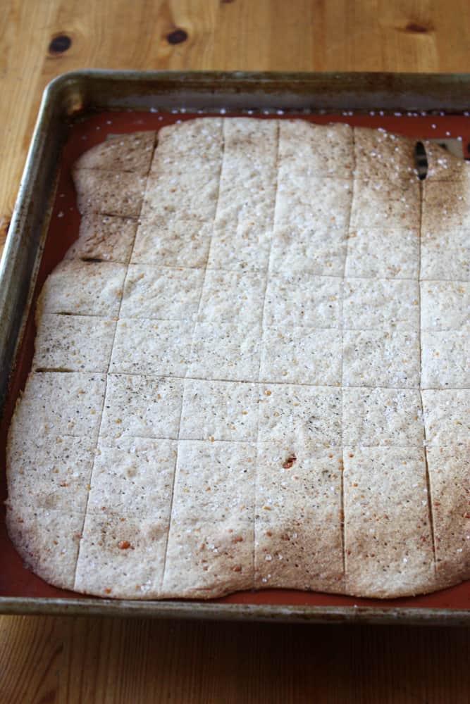 baked cracker dough on baking sheet