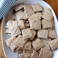 parmesan sea salt and pepper crackers on plate