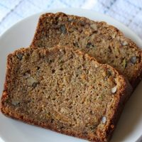 sweet potato zucchini bread slices on a plate