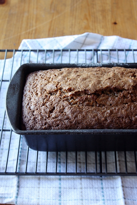 baked sweet potato zucchini bread in loaf pan