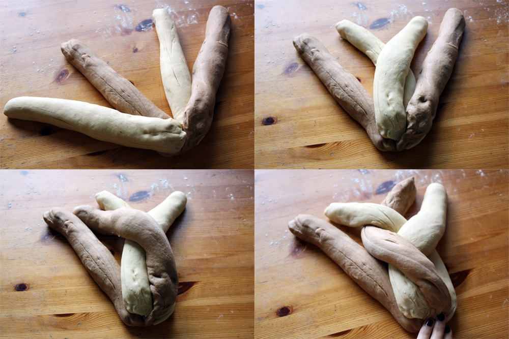 braiding the rye bread dough