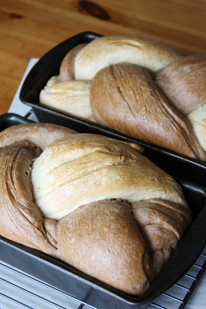 braided rye bread in loaf pan