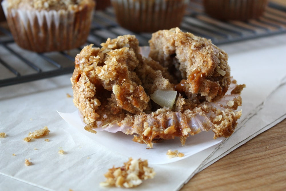 caramel pear muffin on parchment paper