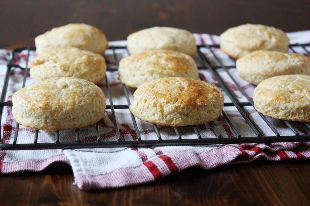 powdermilk biscuits on cooling rack