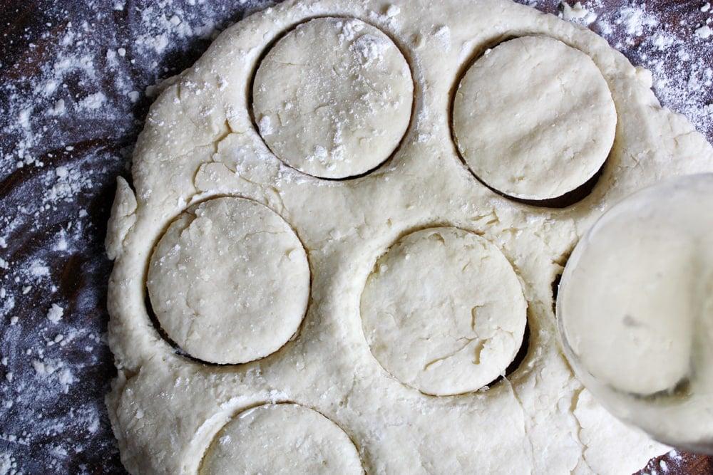 cutting powdermilk biscuit dough