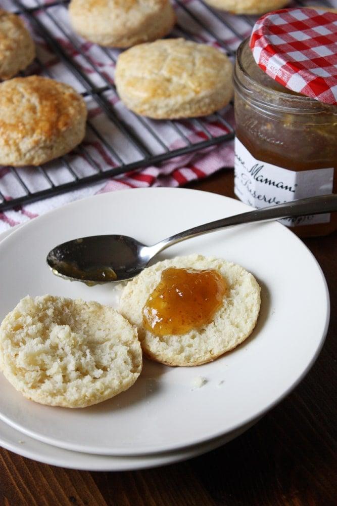 powdermilk biscuit with jam spread