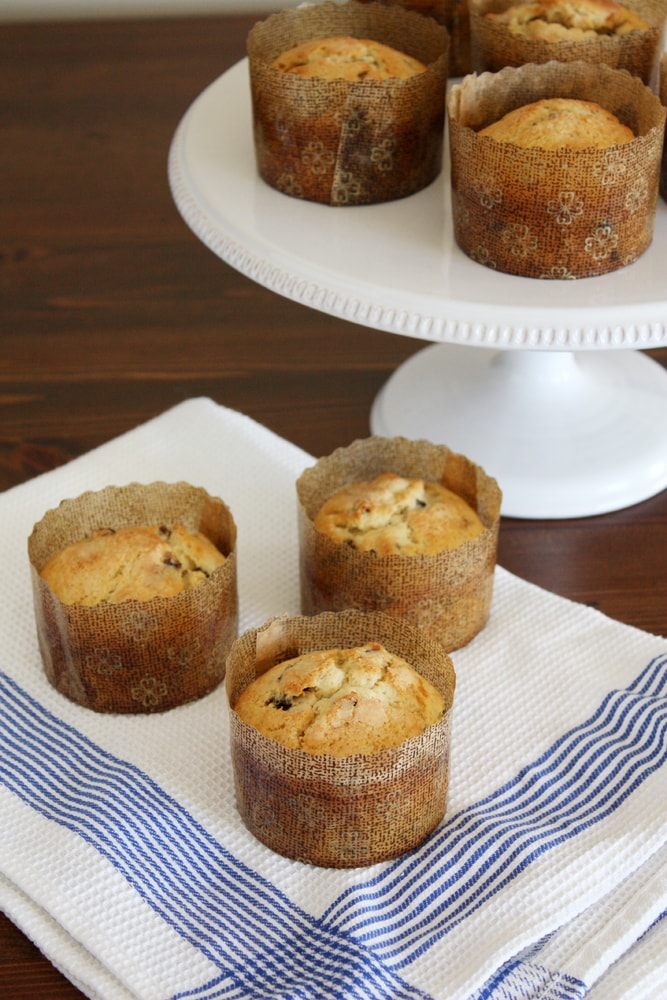 panettone muffins on kitchen towel