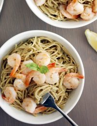 Creamy Avocado Pasta with Shrimp