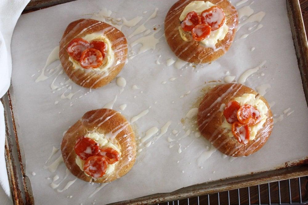 whole wheat brioche danish with honey glazed apricots