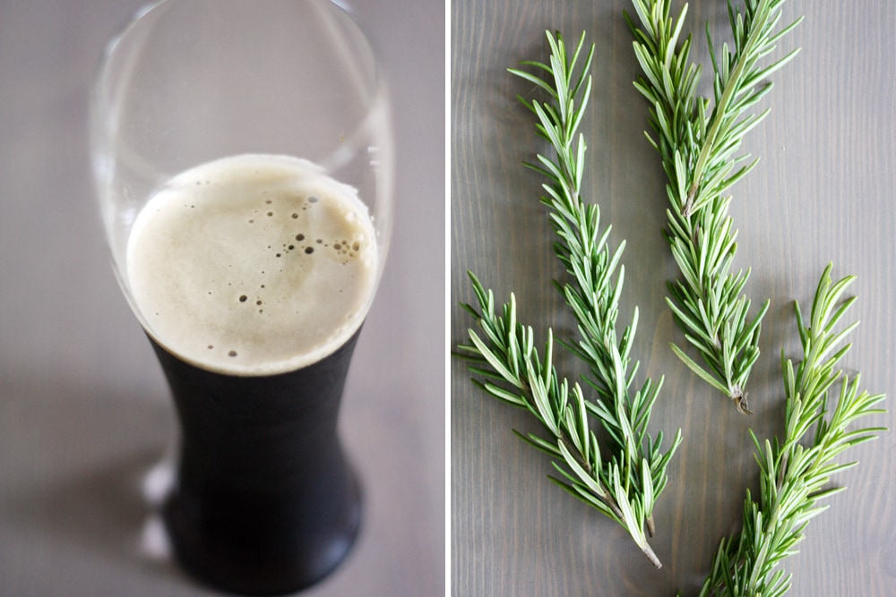 beer glass and fresh rosemary