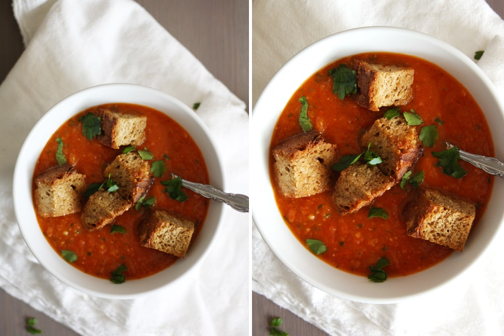 gruyere rosemary beer bread croutons in tomato soup