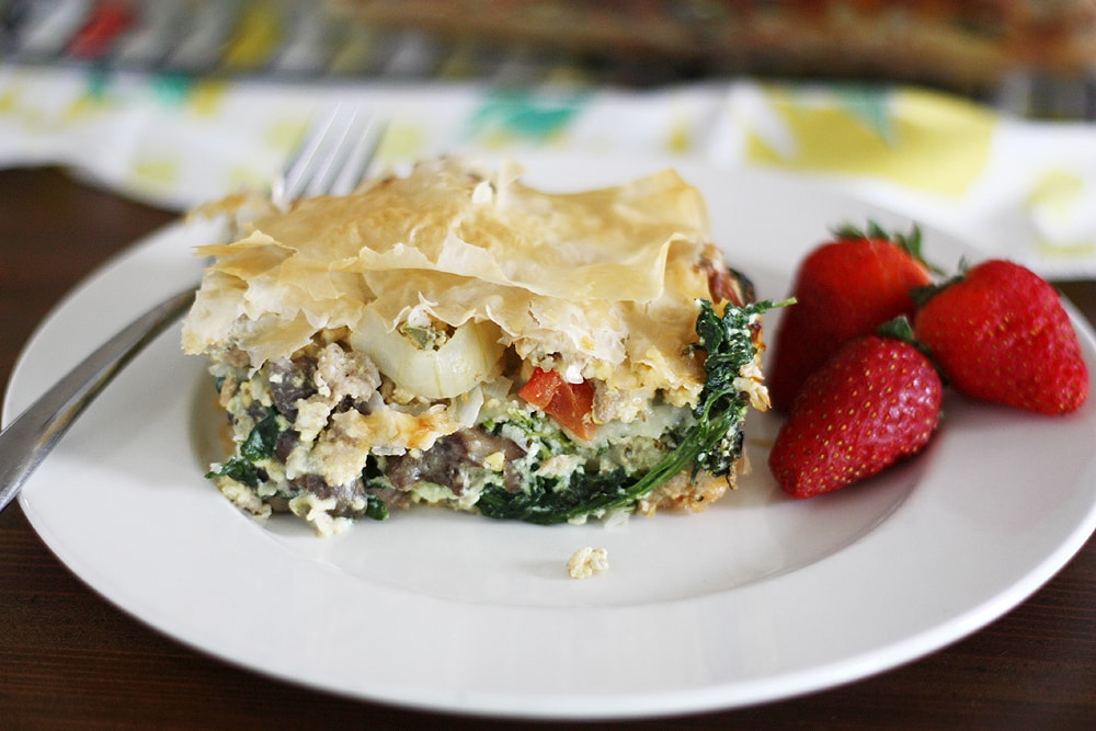 phyllo egg brunch casserole on plate