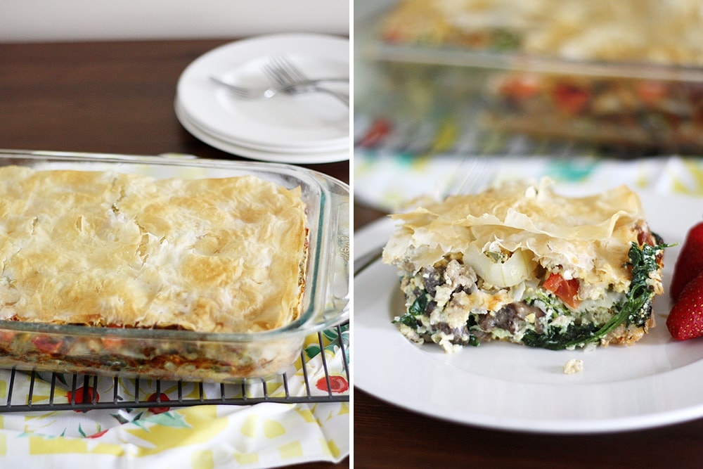 serving of phyllo egg brunch casserole on plate