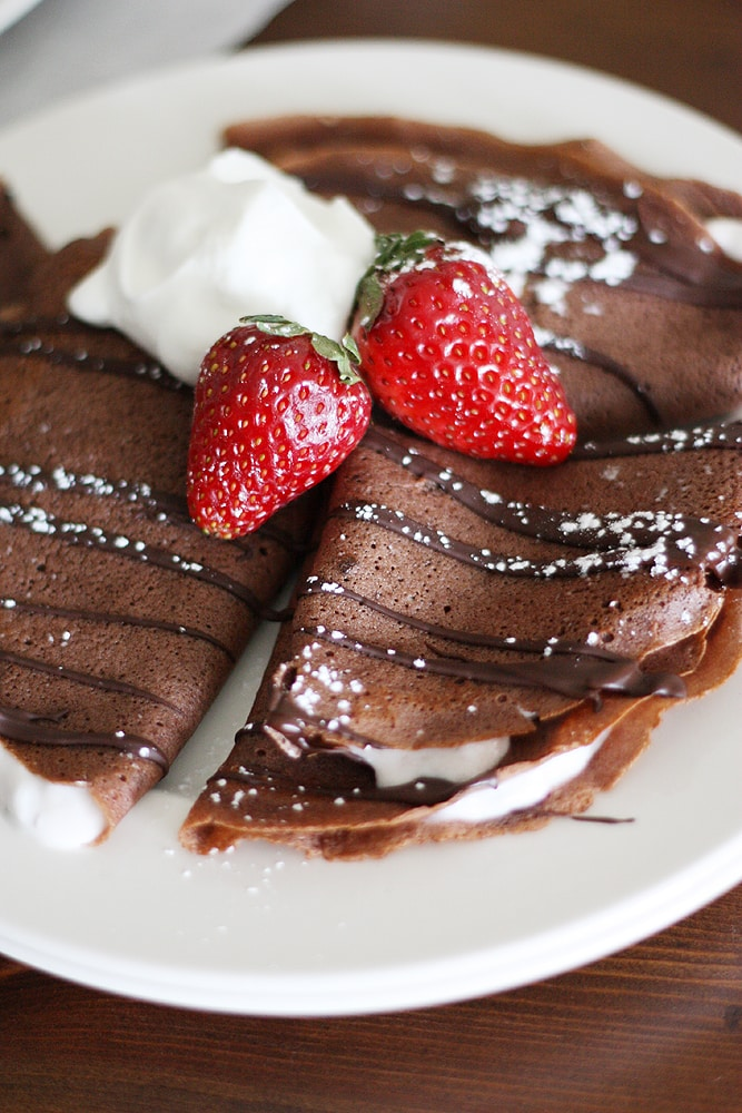 dark chocolate crepes with strawberry yogurt