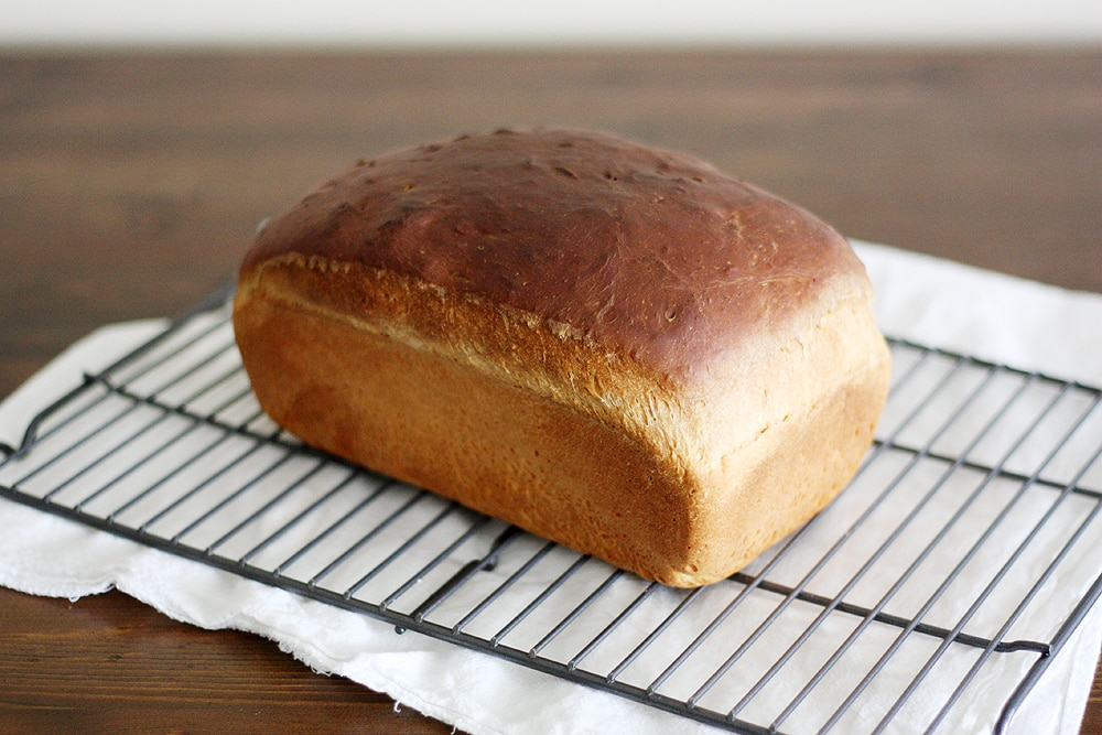 southern sally lunn loaf on cooling rack