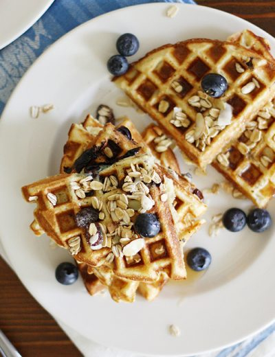 Gluten Free Blueberry Muesli Waffles