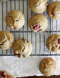 Vegan Cranberry Cherry Granola Muffins