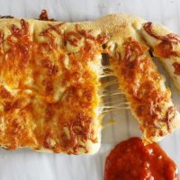 stuffed cheese bread with marinara sauce