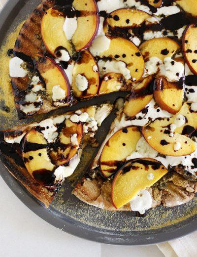 Peach Gorgonzola Grilled Pizza