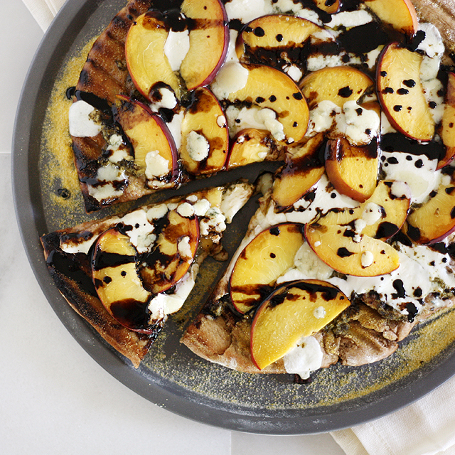 Peach Gorgonzola Grilled Pizza
