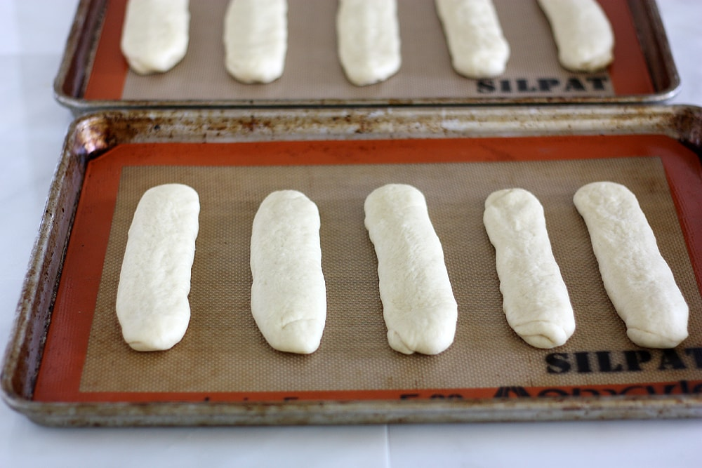 Chicago style hot dog bun dough on baking sheet