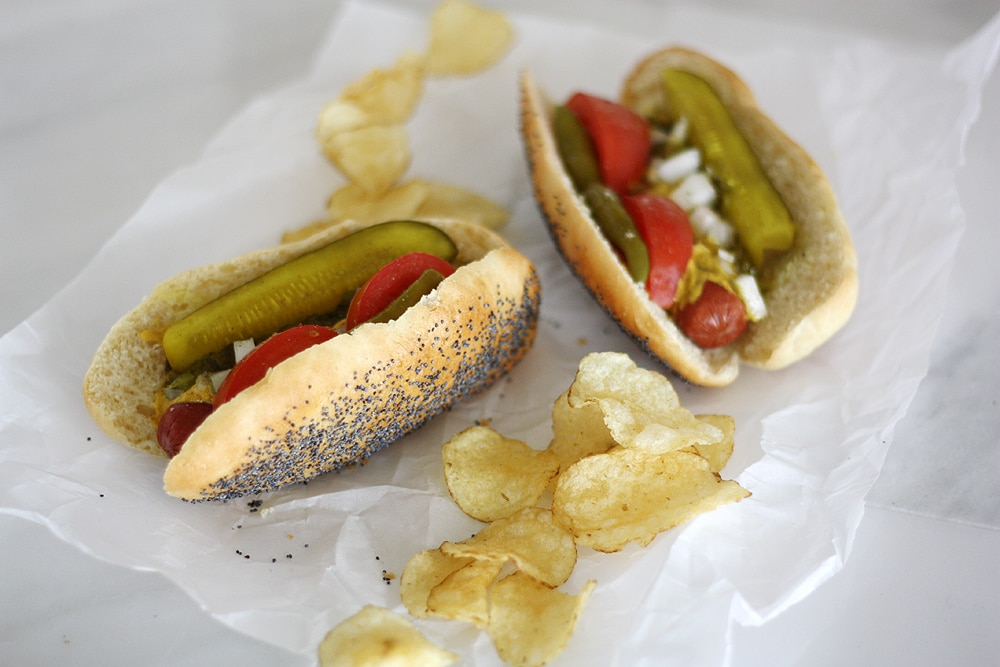 Chicago style hot dogs with chips