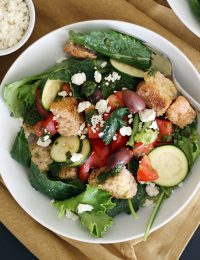 Tomato, Olive and Baby Kale Panzanella Salad