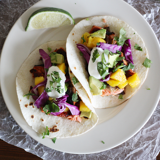 Blackened Salmon and Mango Tacos