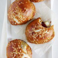 brie pretzel hand pies on plate