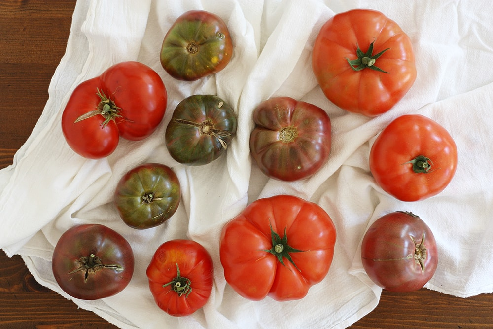 heirloom tomatoes on towel