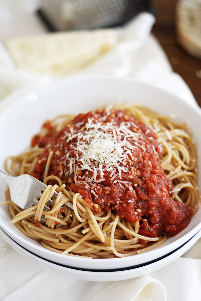 bowl of spaghetti with heirloom tomato sauce