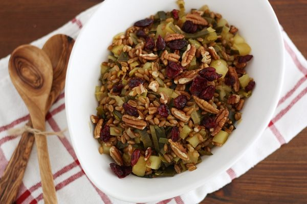 autumn harvest spelt pilaf in serving bowl