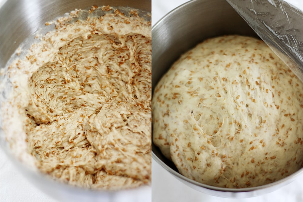 cracked wheat bread dough rising