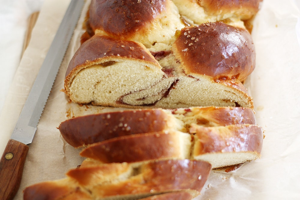 slices of fig raspberry challah bread