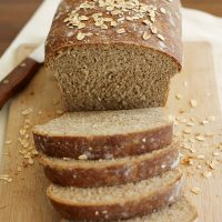 whole wheat honey oatmeal bread loaf sliced