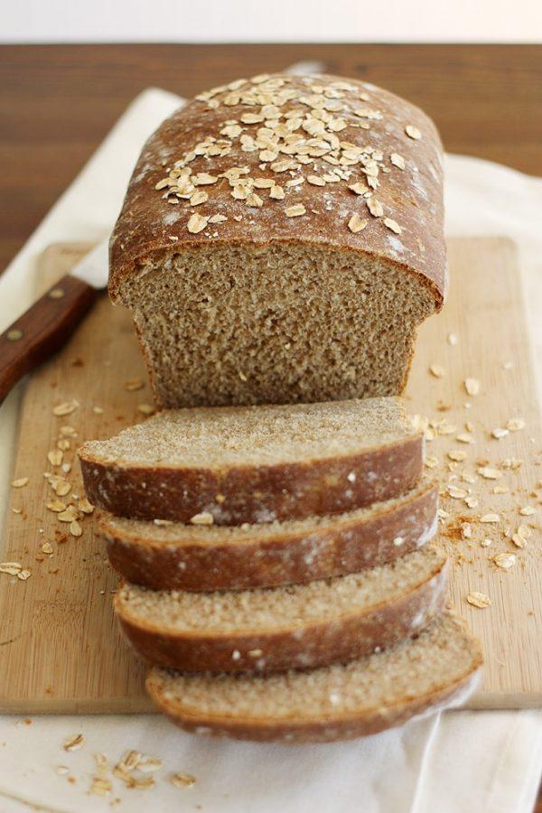 whole wheat honey oatmeal bread loaf sliced