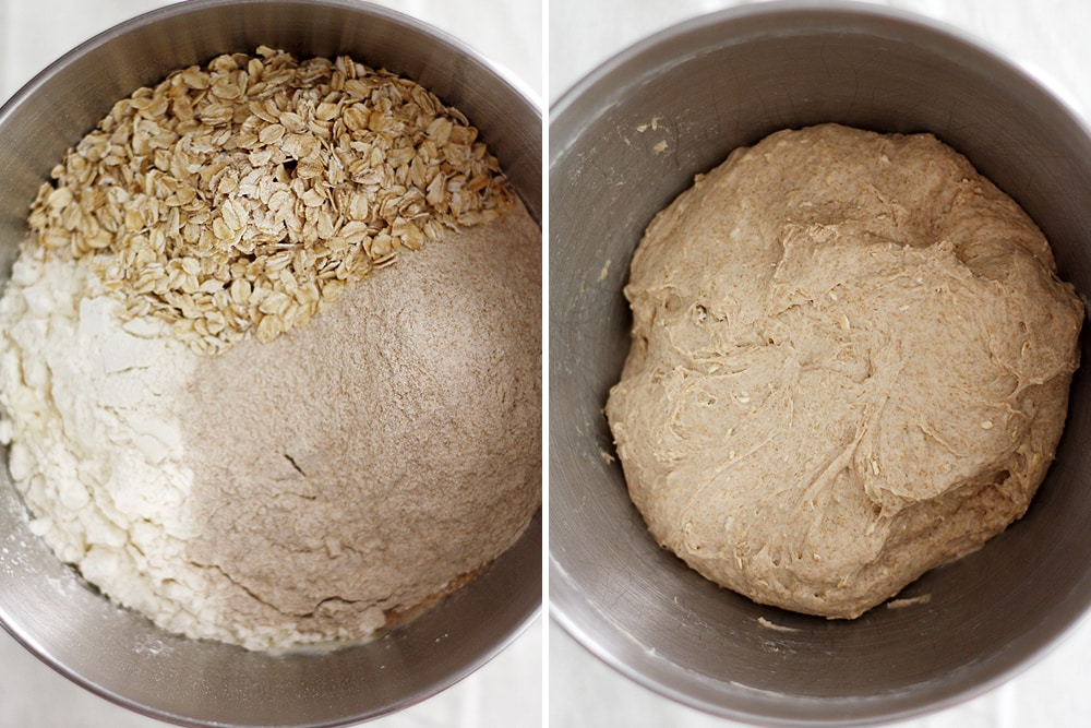 whole wheat honey oatmeal bread dough in bowl