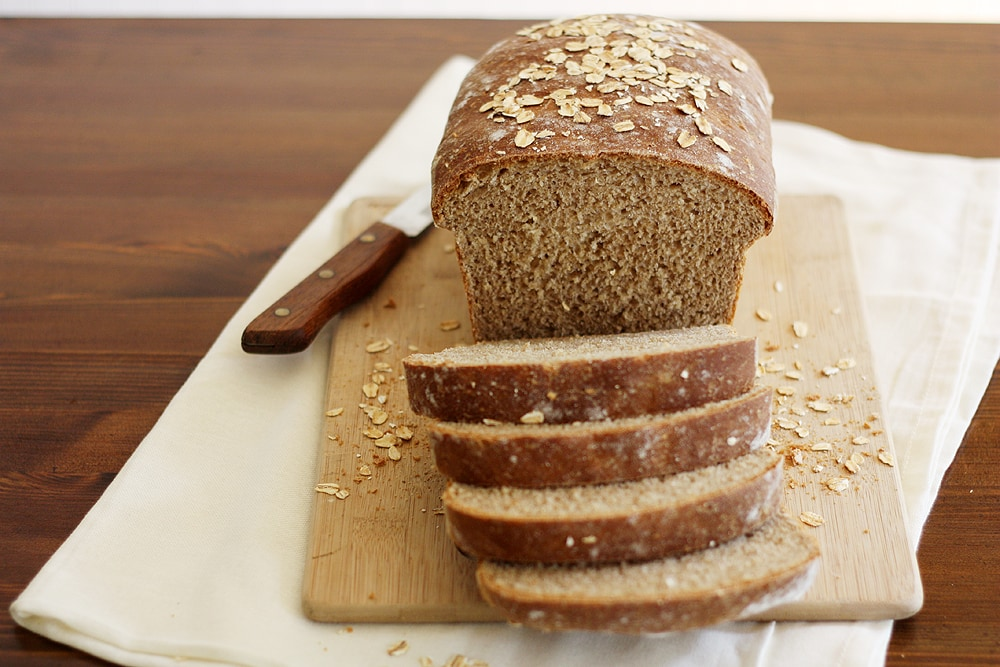 sliced whole wheat honey oatmeal bread